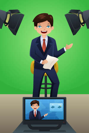 A vector illustration of a TV weather reporter at work Vector