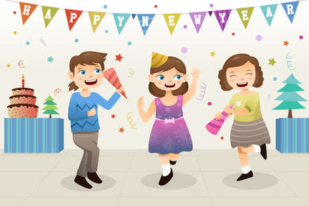 new year party: A vector illustration of group of cute girls celebrating New Year party