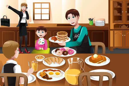 A vector illustration of a stay at home father eating breakfast with his kids  while mom is getting ready to go to work