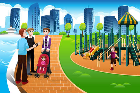 parent and child: Una ilustraci�n vectorial de un padre hablando con otros padres mientras sus hijos juegan en el parque infantil