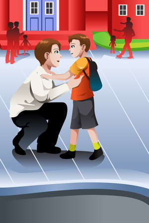 father: A vector illustration of father picks up his son from school Illustration