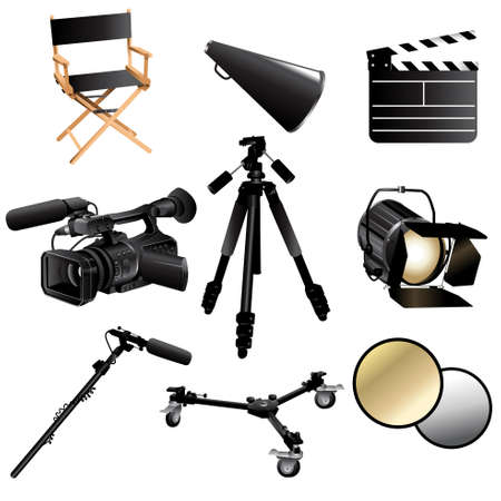 director chair: A vector illustration of filming movie icon sets