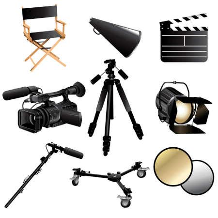 clap board: Una ilustraci�n del vector de la filmaci�n de icono de pel�cula fija