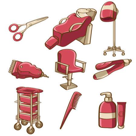 hairstyling: Una ilustraci�n vectorial de peluquer�a conjuntos de iconos Vectores