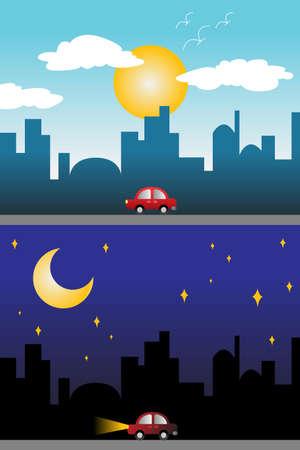 Een vector illustratie van de dag en nacht uitzicht op een moderne stad Stock Illustratie