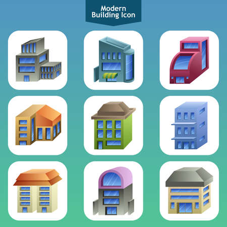A vector illustration of modern building icon designs