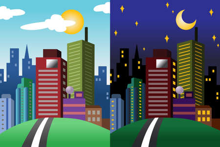 daytime: A vector illustration of day and night view of a modern city