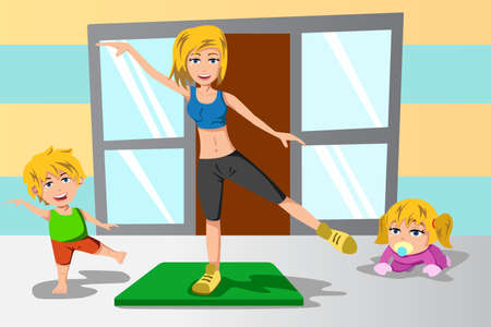 A vector illustration of mother and her kids doing exercise together