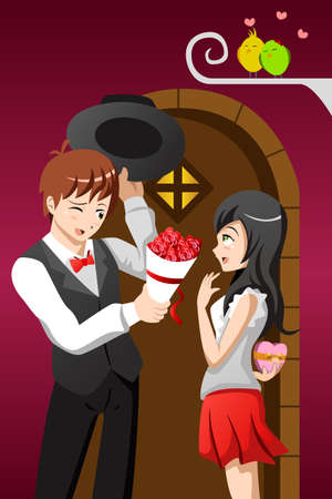 A vector illustration of a young man giving his girlfriend a bouquet of flowers on a Valentine day Vector
