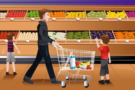 Een vector illustratie van vader en zijn kinderen doen boodschappen samen