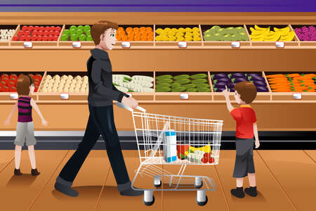 Una ilustración vectorial de padre y sus hijos a hacer la compra de comestibles juntos