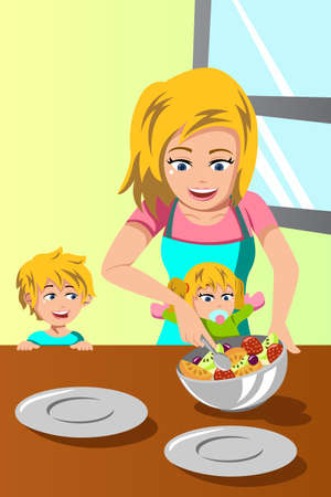 A vector illustration of happy mother and her kids preparing salad together Vector