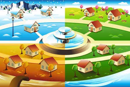 A vector illustration of village in four season