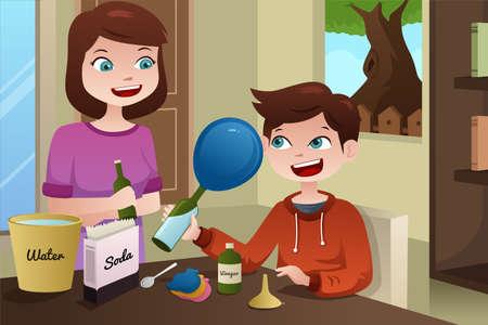 genitore figlio: Una illustrazione vettoriale di una madre aiutare suo figlio a costruire un progetto di scienza Vettoriali