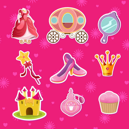 A vector illustration of princess icon designs