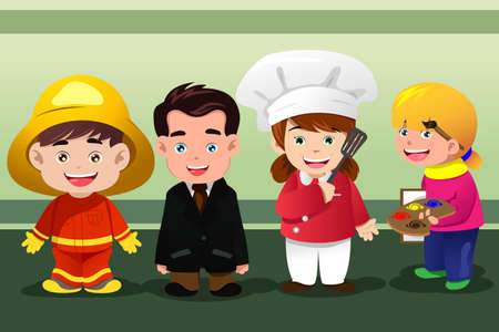 dressing up: A vector illustration of group of children dressing up as professionals