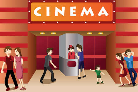 Films: A vector illustration of young people hanging out outside a movie theater Illustration