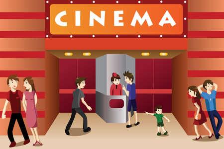 Een vector illustratie van jonge mensen opknoping buiten een bioscoop