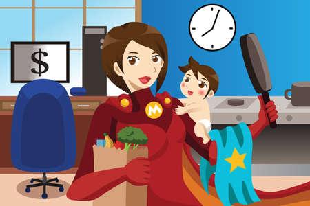 busy person: A vector superhero mom concept