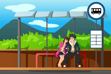 enamorados caricatura: Una ilustración vectorial de hombre y mujer que espera en la parada de autobús Vectores