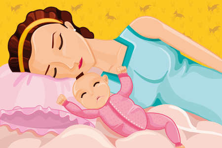 A vector illustration of mother sleeping with a baby on bed Vector