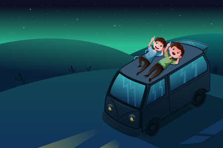 A vector illustration of father and son lying down looking at the stars at night Vector