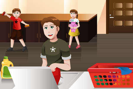 chore: A vector illustration of father doing laundry at home while his kids playing