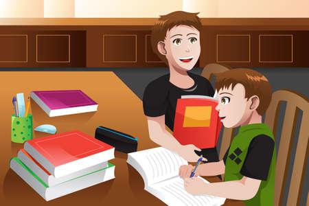 Vector father and son: Một minh họa véc tơ của cha giúp con trai mình làm bài tập về nhà