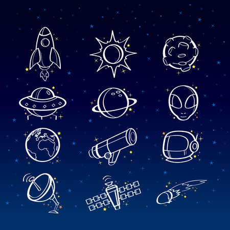 A vector illustration of astronomy icon sets Vector
