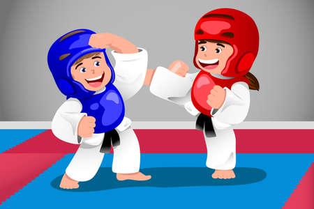 A vector illustration of kids practicing taekwondo in a dojo Stock Vector - 24192868