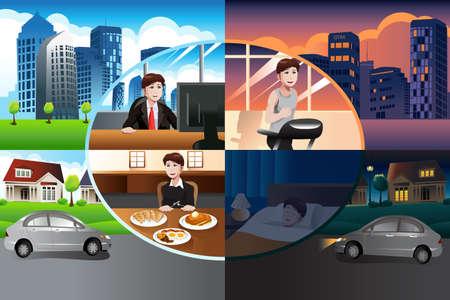 vida: Una ilustración vectorial de día en la vida del hombre moderno