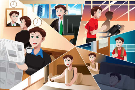 A vector illustration of day in life of modern man Stock Vector - 24273344