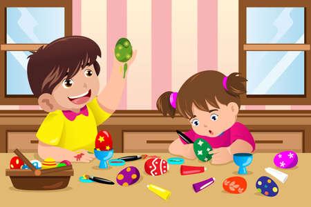 Una ilustraci�n vectorial de ni�os que pintan los huevos de Pascua en el hogar