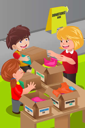 A vector illustration of a woman collecting clothing donations at clothes donation center Vector