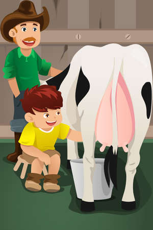 A vector illustration of farmer teaching kid how to milk a cow Vector