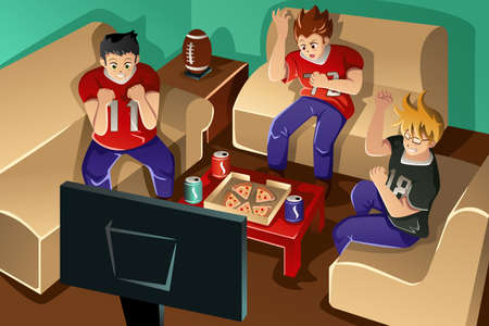 A vector illustration of group of young people watching American football on TV and eating pizza and drinking soda Vector