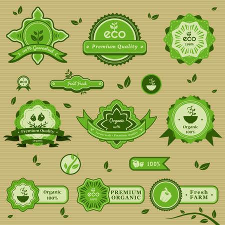 Una illustrazione vettoriale di disegni di etichetta biologica Vettoriali