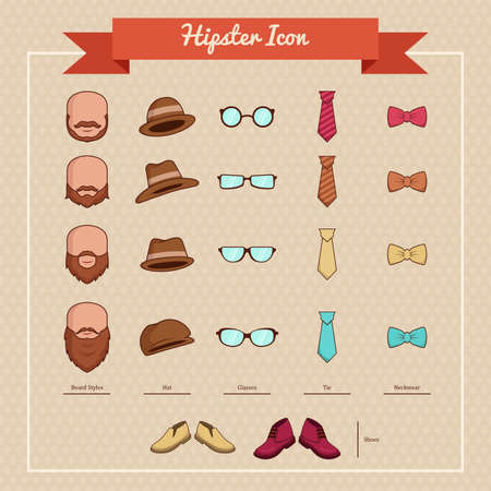 A vector illustration of hipsters icons Vector