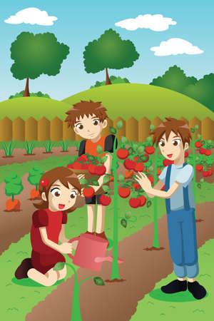 Een vector illustratie van kinderen planten van groenten en fruit in een tuin