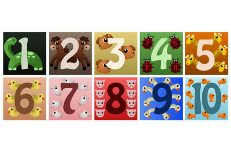 A vector illustration of a set of numbers with cute animals