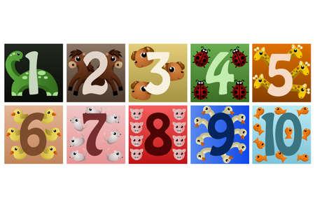 Een vector illustratie van een reeks getallen met schattige dieren