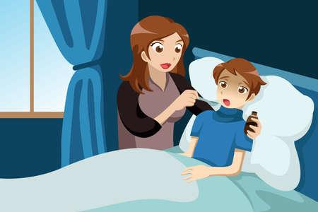 A vector illustration of sick kid taking medicine Ilustração