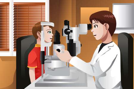 Une illustration de vecteur d'un garçon dont les yeux vérifié au bureau de médecin Banque d'images - 24470387
