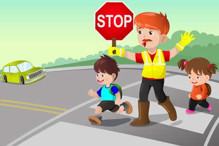 A vector illustration of flagger and kids crossing the street