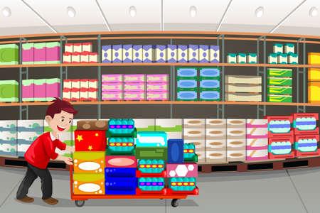 Una ilustración vectorial de hombre de las compras en una tienda de caja grande