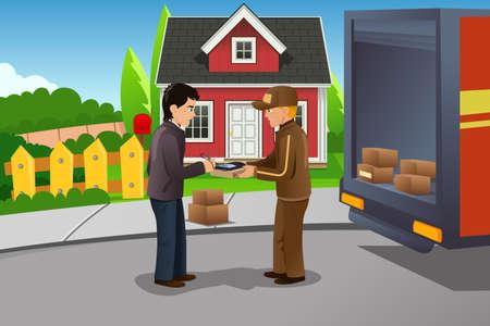 Een vector illustratie van postbode leveren pakket
