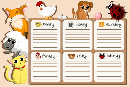 school schedule: A vector illustration of school timetable design Illustration