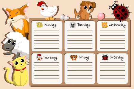 cronograma: Una ilustración vectorial de diseño de calendario escolar