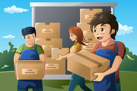 voedingsmiddelen: Een vector illustratie van team van vrijwilligers werken bij voedselschenking centrum