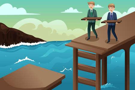 Una illustrazione vettoriale di concetto di affari di due uomini d'affari che cercano di costruire un ponte attraverso il fiume